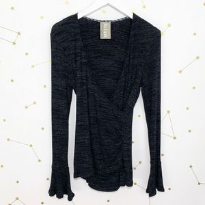 Anthro • Black Ribbed Bell Sleeve Wrap Top Dolan S